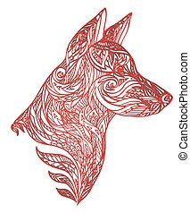 Vector illustration of dog with a carved pattern for your creativity
