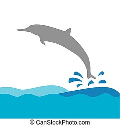 vector illustration of dolphin and sea waves