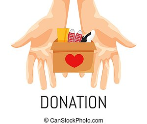 Vector Illustration of Donation Box with Footwear