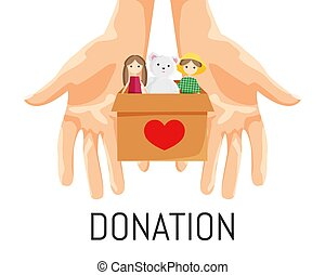 Vector Illustration of Donation Box with Toys