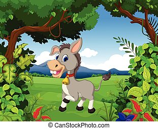 donkey cartoon with landscape backg - vector illustration of...
