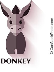 Vector illustration of donkey icon in flat style
