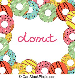 Vector illustration of donut on white background