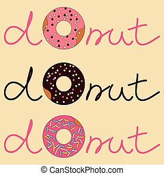 Vector illustration of donut with inscription