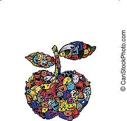 doodle apple cartoon