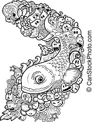 Doodle fish,Hand drawn illustration