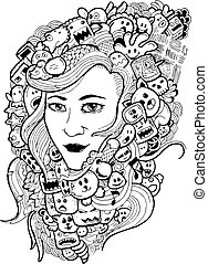 doodle woman hand-drawn