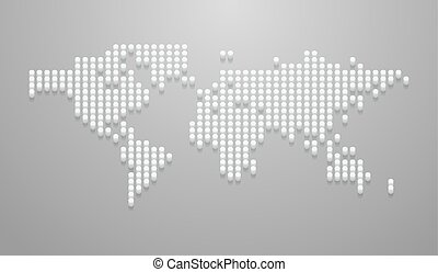 Vector illustration of dotted 3d world map mockup for infographics on the gray background