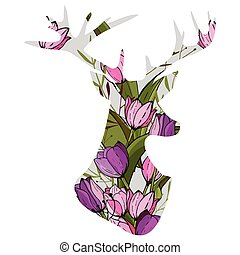 Vector illustration of double exposure deer with tulips -...