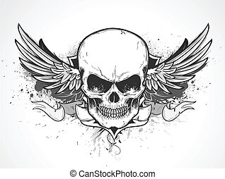 Vector illustration of double winged human skull with banner and grunge background