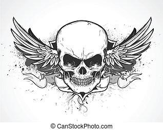 human skull - Vector illustration of double winged human...
