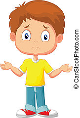 vector illustration of Doubtful young kid gesturing with hands