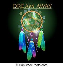 Vector illustration of dream catcher, native american poster