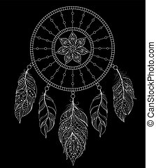 dreamcatcher on black background