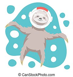 Vector illustration of dreamy happy sloth floating in space...