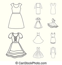 Vector illustration of dress and clothes icon. Collection of dress and evening stock symbol for web.