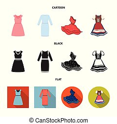 Vector illustration of dress and clothes icon. Set of dress and evening stock symbol for web.