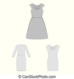 Vector illustration of dress and clothes symbol. Collection of dress and evening vector icon for stock.