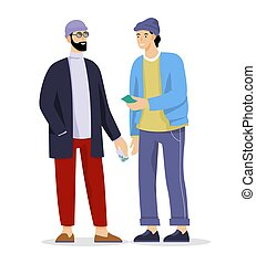 Vector illustration of drug dealer and addicted man doing illegal trade. Idea of addiction and illegal black market