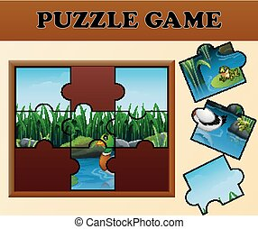 Duck and frogs in the river with puzzle concept
