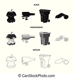 Isolated object of dump and sort symbol. Collection of dump and junk vector icon for stock.