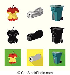 Isolated object of dump and sort icon. Collection of dump and junk stock symbol for web.