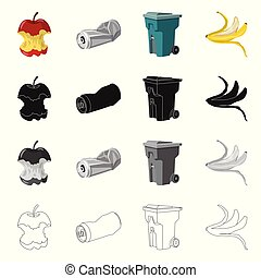 Isolated object of dump and sort logo. Set of dump and junk vector icon for stock.