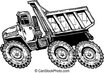 dump truck - vector illustration of dump truck in comics ...
