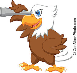 Eagle cartoon watching - Vector illustration of Eagle...