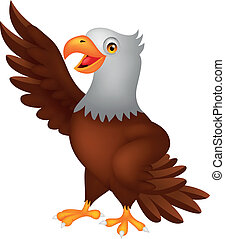 Vector illustration of Eagle cartoon waving
