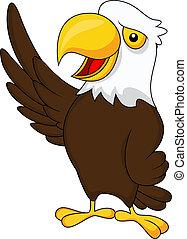 Eagle cartoon waving