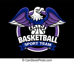 Vector illustration of eagle with claws holding a basketball sport logo. Eagle spread the wings. An eagle angry animal sports mascot.
