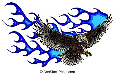 vector illustration of Eagle with Flame blue