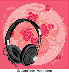 vector illustration of earphone with grunge background
