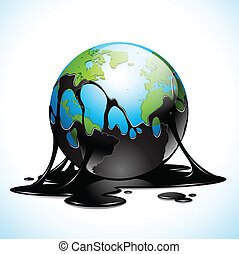 Earth covered in dark oil - Vector illustration of Earth ...