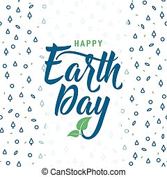Vector illustration of Earth day greeting text card on seamless pattern
