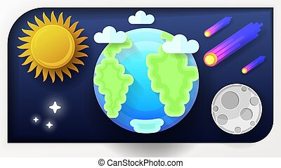 Vector illustration of earth globe. A blue planet with clouds