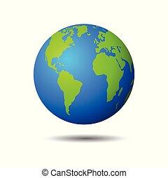 Earth globe icon on white background