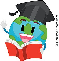 Earth Mascot reading a Book