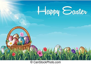 Easter background with decorated Easter eggs on the basket in a grass field