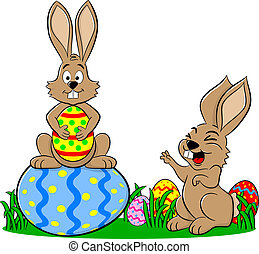 easter bunnies playing with easter eggs