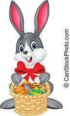 Easter bunny with bucket of eggs - vector illustration of ...