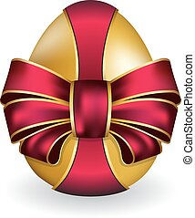 Easter egg - Vector illustration of Easter egg with red bow