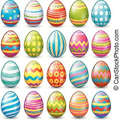 Easter eggs collection on a white background