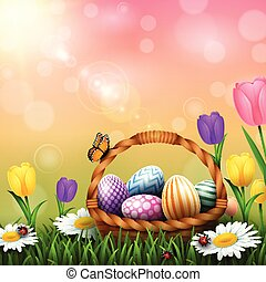 Easter greeting card with a full basket of colorful eggs and flowers in the grass