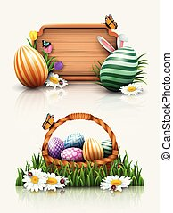 Easter greeting card with a wooden sign, basket, and colorful eggs in the grass