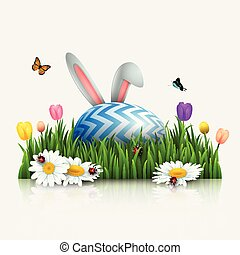 Easter greeting card with bunny ears and egg in the grass on white background