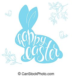 vector illustration of easter hand lettering. greeting quote in rabbit silhouette