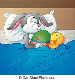 Easter rabbit and chicken Easter sleeping together in bed with Easter egg