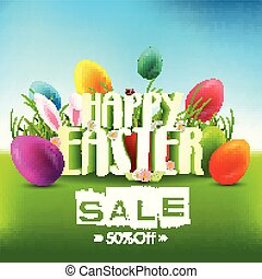 Easter sale background with eggs and bunny ears in the grass